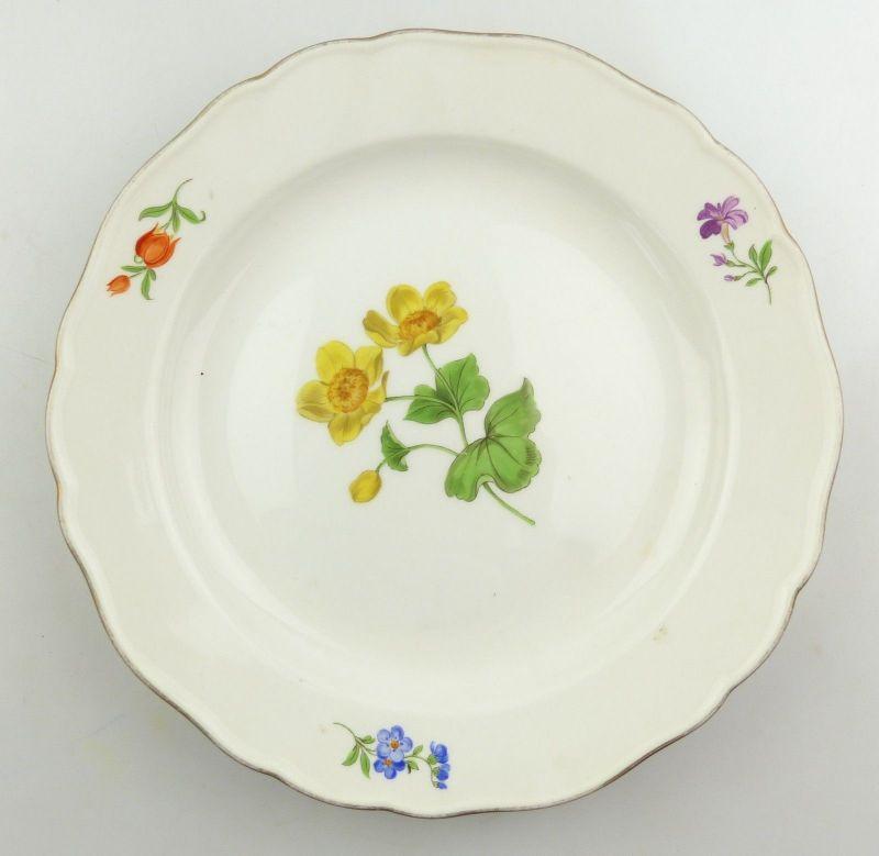 E9819 Meissen Teller 2. Wahl mit Blumen und Goldrand Ø 22 cm