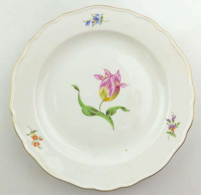 E9818 Meissen Teller 2. Wahl mit Tulpe und Goldrand Ø 22 cm