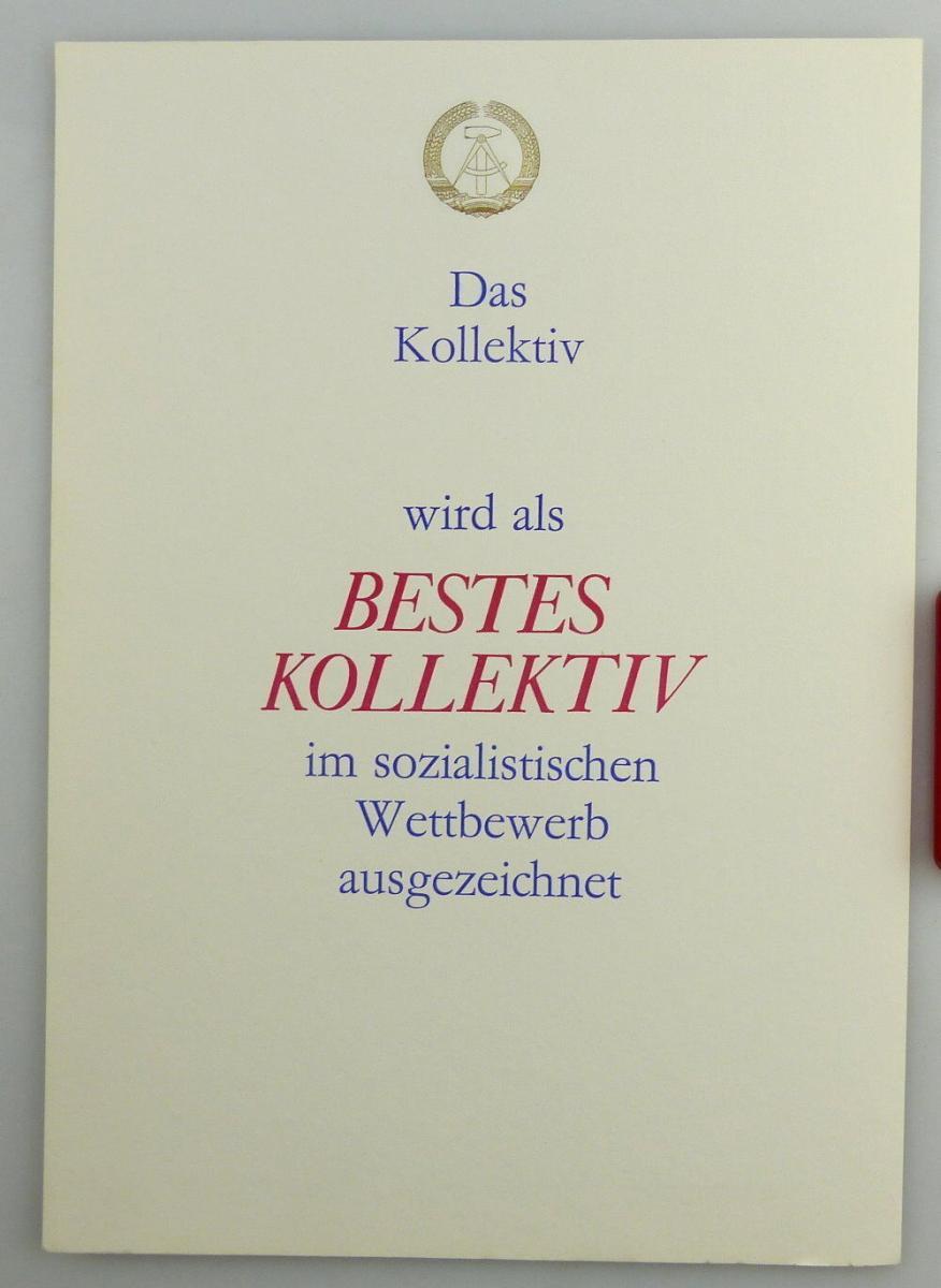 Große blanco Urkunde: Bestes Kollektiv im sozialistischen Wettbewerb, so261