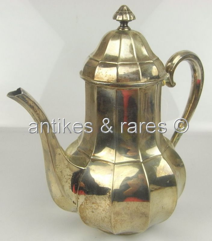 Interessante große Kaffeekanne in 800 (Ag) Silber