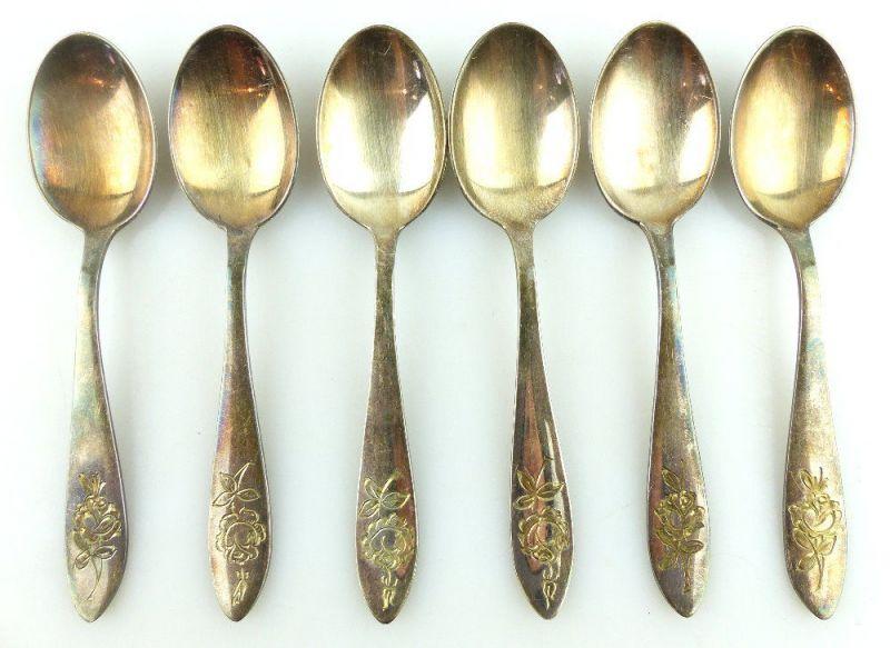 6 alte Mokkalöffel aus 835 (Ag) Silber mit gravierter Rose e959
