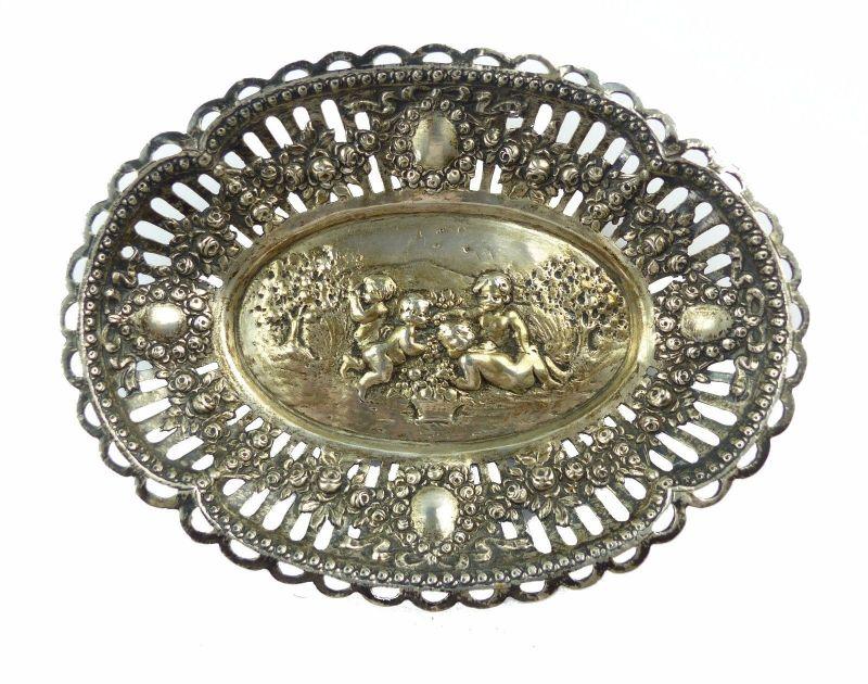 #e6730 Sehr feine Schale 800 (Ag) Silber mit Putten und Rosen Durchbrucharbeit