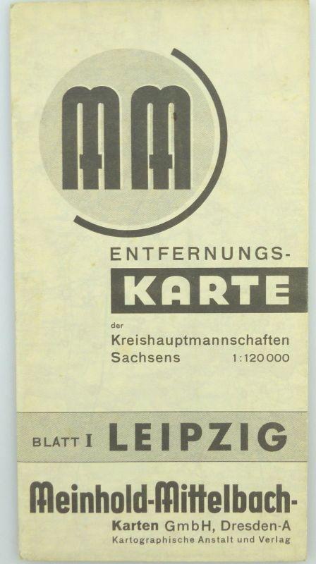 Mittelbach Karte: Entfernungskarte Blatt 1 Leipzig Sachsen e941 0