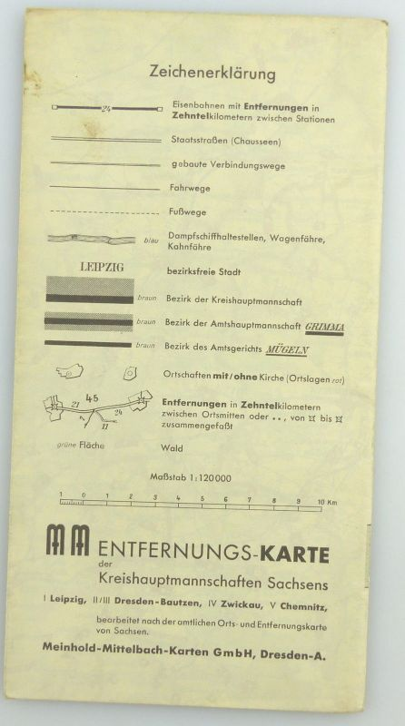 Mittelbach Karte: Entfernungskarte Blatt 1 Leipzig Sachsen e941 1