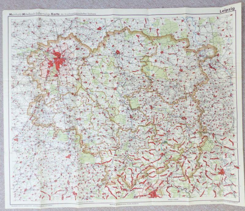 Mittelbach Karte: Entfernungskarte Blatt 1 Leipzig Sachsen e941 2