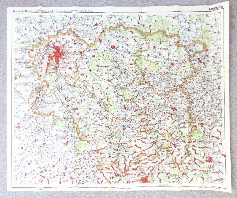 Mittelbach Karte: Entfernungskarte Blatt 1 Leipzig Sachsen e941 3