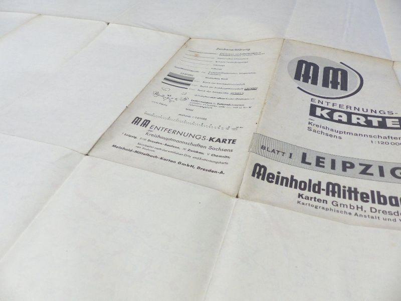 Mittelbach Karte: Entfernungskarte Blatt 1 Leipzig Sachsen e941 7