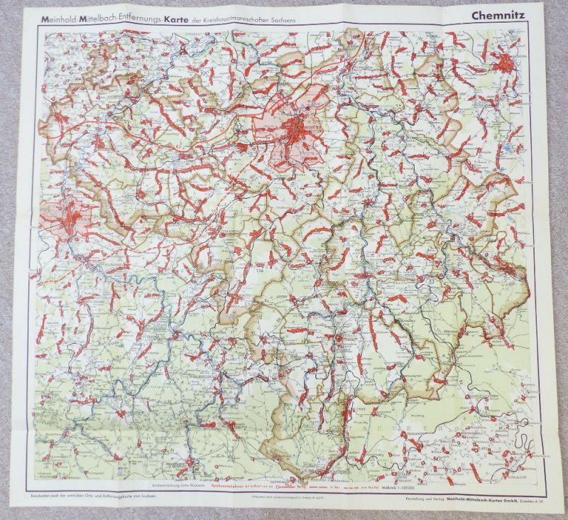 Mittelbach Karte: Entfernungskarte der Kreishauptstadtmannschaften Sachsens e940