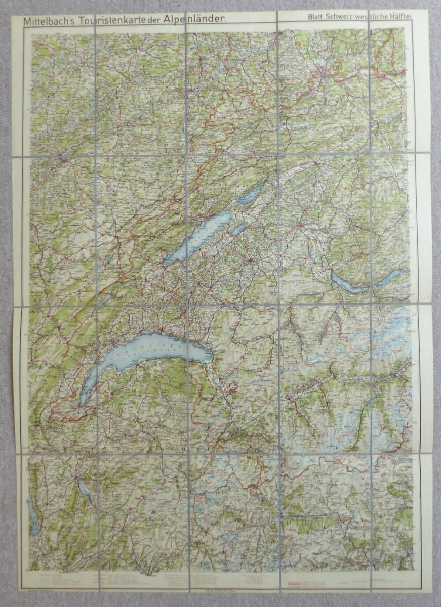 Alpenländer Blatt, Mittelbach´s Auto-, Radfahrer und Touristenkarte Schweiz e933