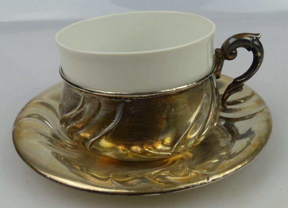 Tasse mit Unterteller in 830 (Ag) Silber 164g, Halbmond & Krone Dt., norb814