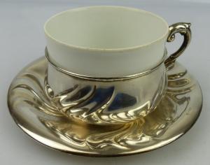 Tasse mit Unterteller in 830 (Ag) Silber 170g, Halbmond & Krone Dt., norb813