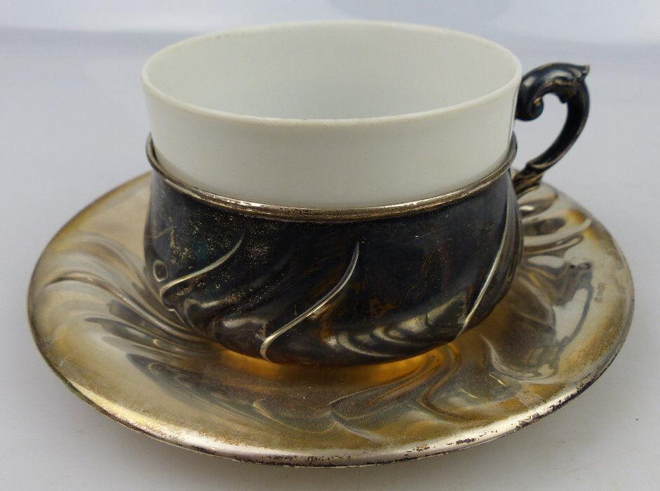 Tasse mit Unterteller in 830 (Ag) Silber 164g, Halbmond & Krone Dt., norb812