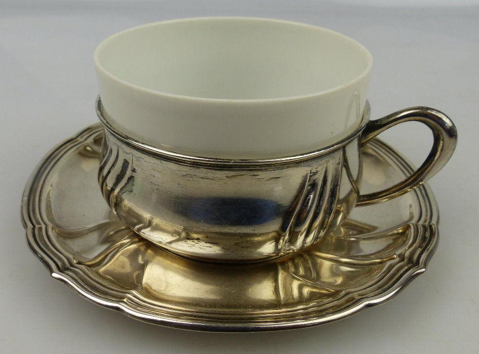 Tasse mit Unterteller in 800 (Ag) Silber 121g, Halbmond & Krone Dt., norb811