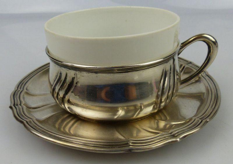 Tasse mit Unterteller in 800 (Ag) Silber 120g, Halbmond & Krone Dt., norb810