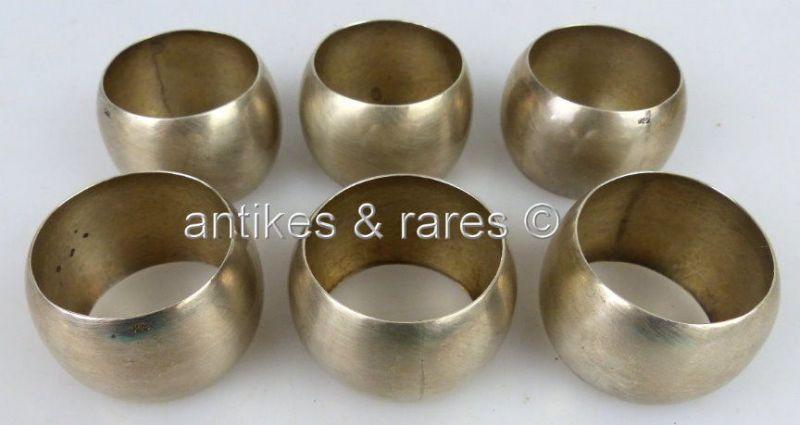 6 dekorative Serviettenringe aus 925er Silber mit Monogramm norb658