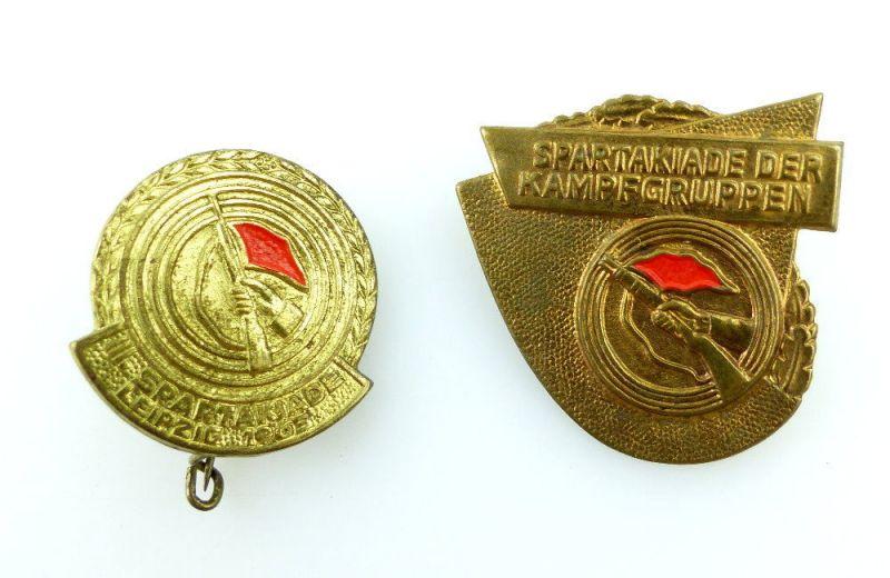 #e2363 2 Abzeichen Spartakiade der Kampfgruppen + III. Spartakiade 1963 Leipzig