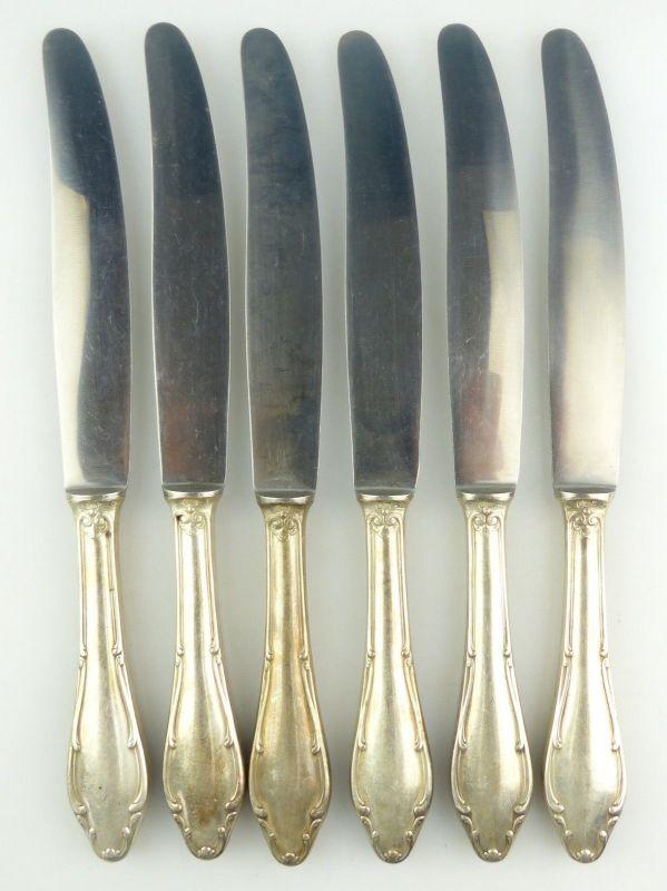 E10020 6 AWS Wellner Messer Griffe in 90er Silberauflage mit rostfreien Klingen