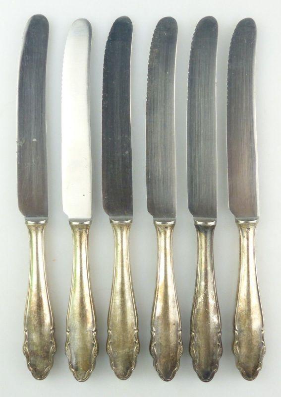 E10018 6 WMF Messer mit versilberten Griffen in 90er Auflage