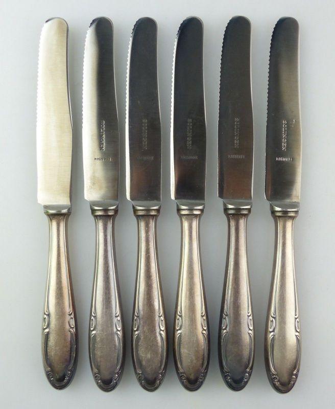 E10017 6 Messer mit versilberten Griffen und rostfreien Solingen Klingen