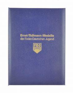 #e6524 Original alte DDR Urkundenmappe Ernst Thälmann Medaille der FDJ selten!