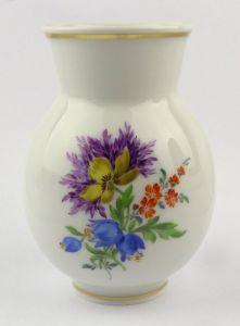 #e6001 Meissen Vase 1. Wahl mit bunten Blumen & Goldrand um 1980