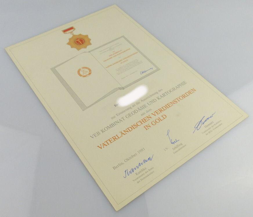 Erinnerungsurkunde zum Vaterländischer Verdienstorden in Gold, Orden1897