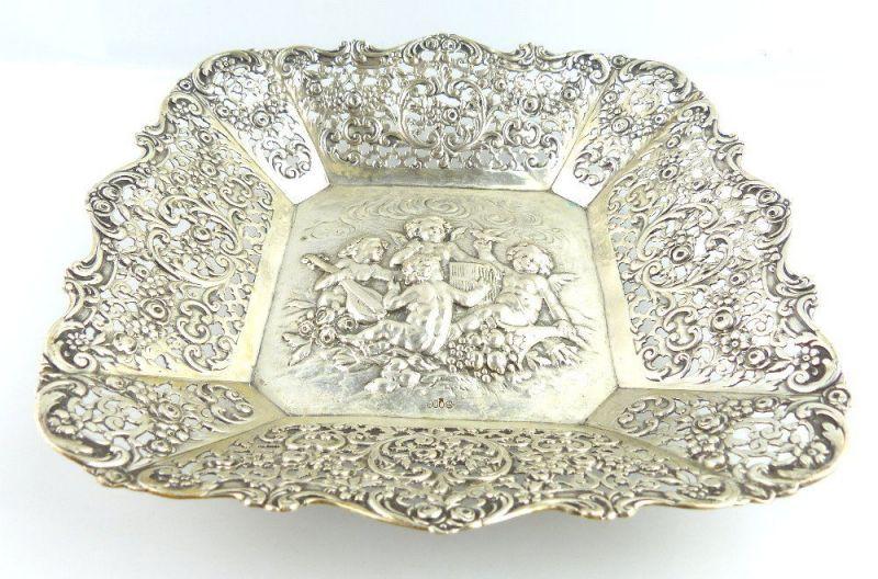 Schöne original alte Gründerzeit Schale aus 800 (Ag) Silber mit Engeln e712
