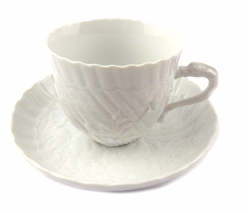 #e7099 Meissen 1. Wahl Porzellan Kaffeepott & Untertasse Schwanenservice weiß