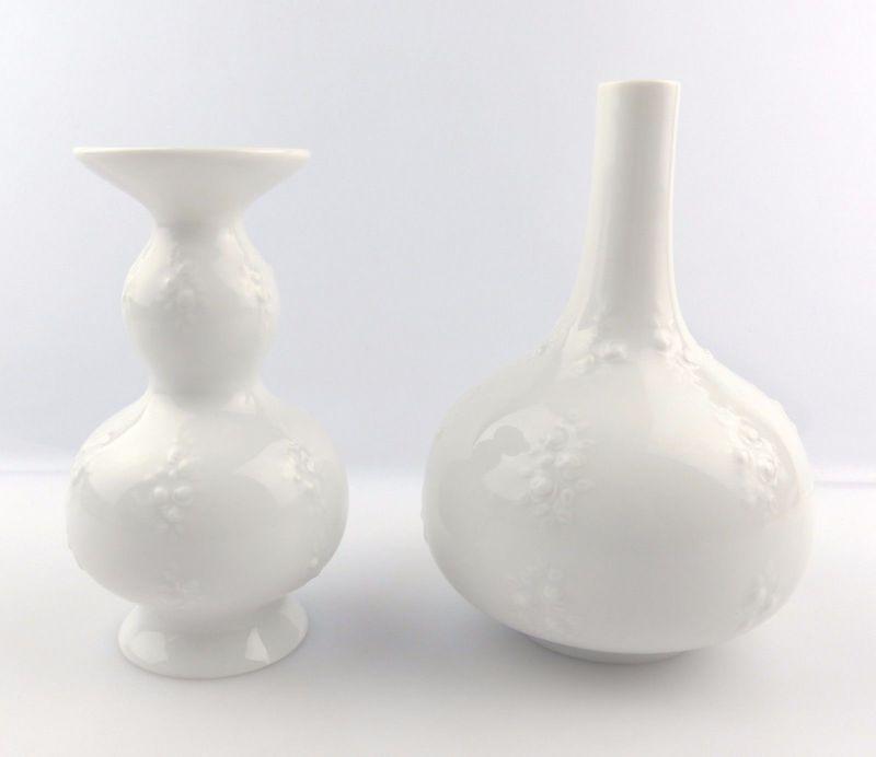 #e5226 2 Wallendorf Porzellan Vasen mit dekorativem Relief 2