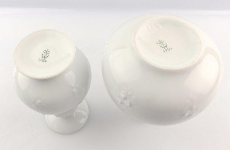 #e5226 2 Wallendorf Porzellan Vasen mit dekorativem Relief 4