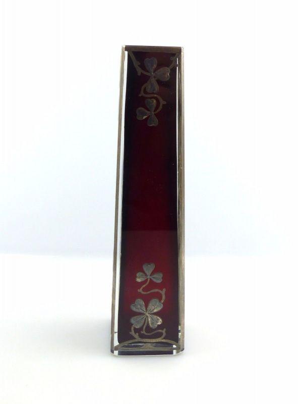 #e5222 Alte Jugendstil Glas Vase mit Silberauflage gearbeitet silver-overlay