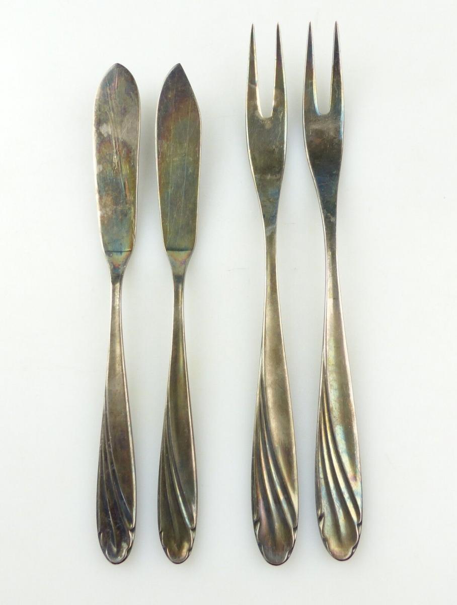 E10123 4 versilberte WMF Vorleger 90er Silberauflage