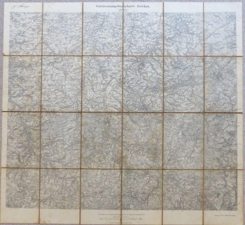 E10179 Original alte Garnison Umgebungskarte Zwickau von 1914 Karte auf Leinen