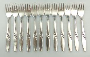 E10201 12 versilberte Kuchengabeln von MKM in 90er Silberauflage
