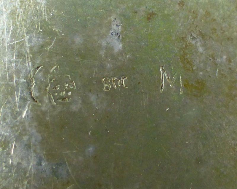 E10190 Sehr dekorative Zuckerschale aus 800er Silber Halbmond und Krone 8