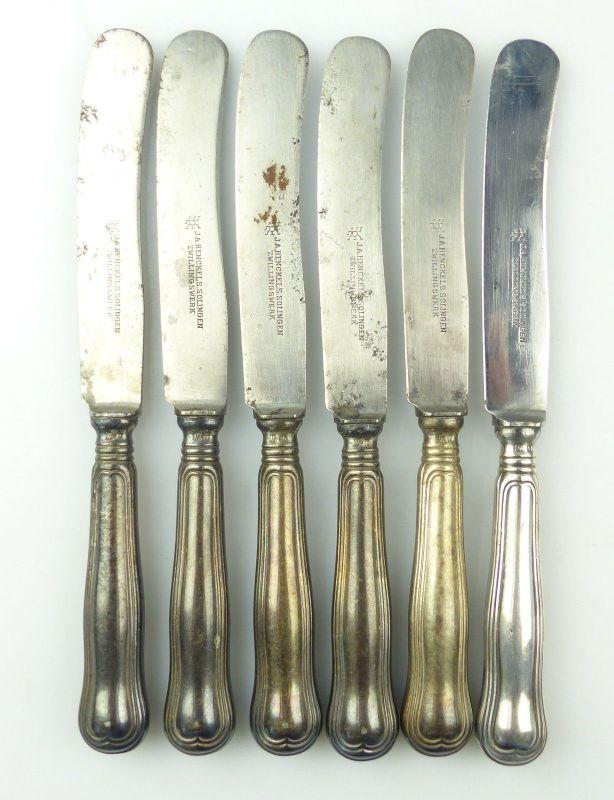 E10218 6 Dessertmesser mit versilberten Griffen Augsburger Faden Gründerzeit