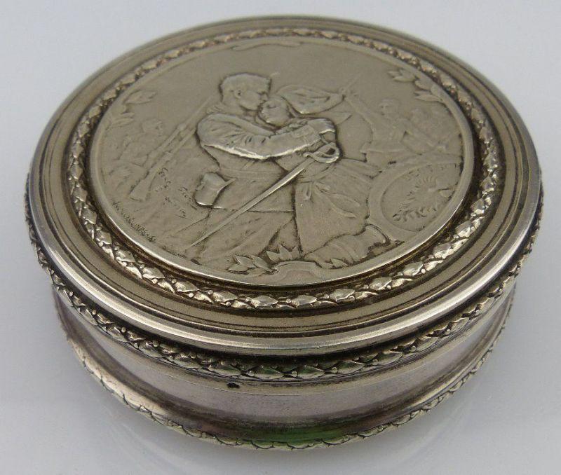 Silberdose mit Kriegsszene 1 WK Anfang 1914, signiert, norb826