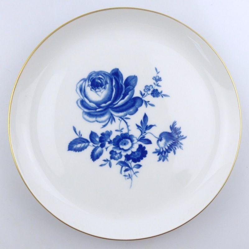 E9242 Wandteller Meissen 2 Wahl mit blauer Rose und Goldrand
