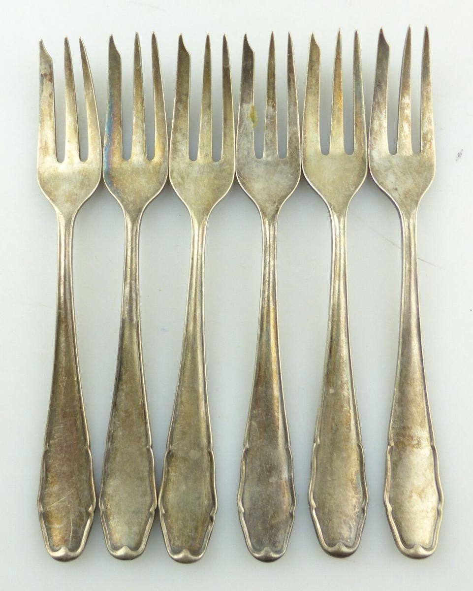#e8505 6 alte versilberte Kuchengabeln / 90 in Silberauflage Stempelung LW