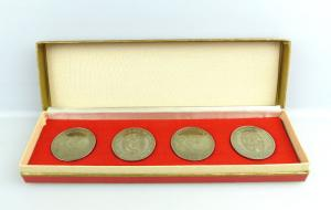 #e2606 Wehrspartakiaden der GST 4 alte Medaillen soz. Wehrorganisation der DDR