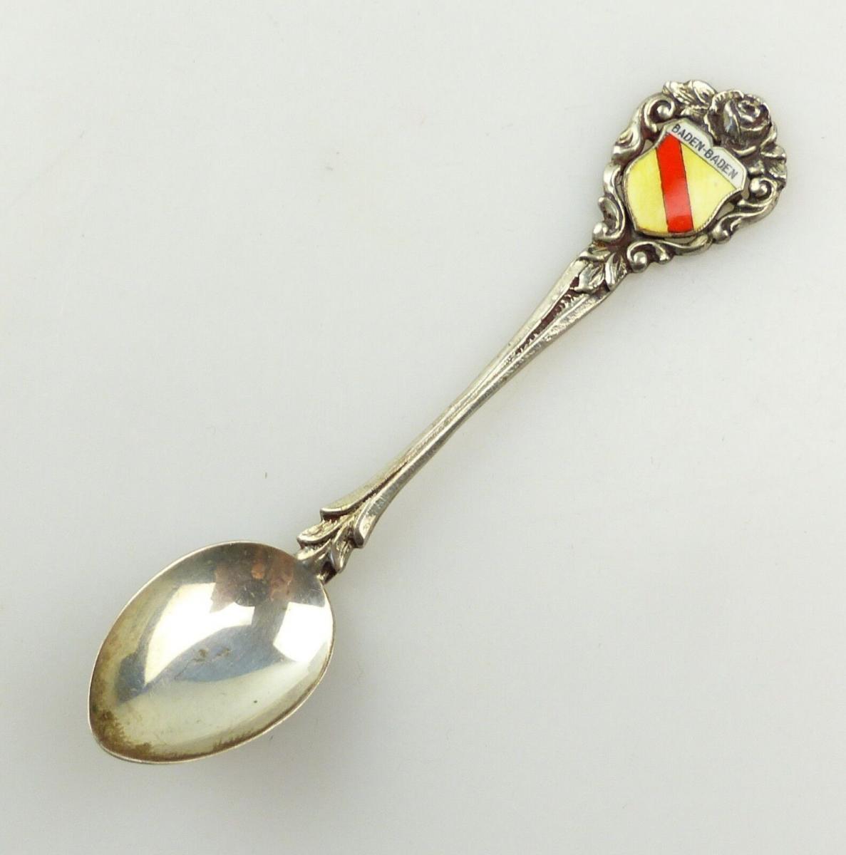 E10288 Sammlerlöffel Baden Baden mit Wappen und Rose aus 835er Silber