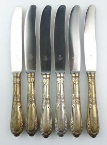 E10285 6 wunderschöne Gründerzeit Dessertmesser mit Griffen aus 800er Silber