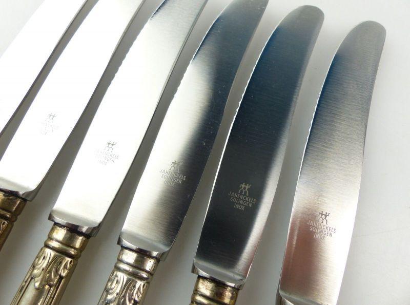 E10285 6 wunderschöne Gründerzeit Dessertmesser mit Griffen aus 800er Silber 2