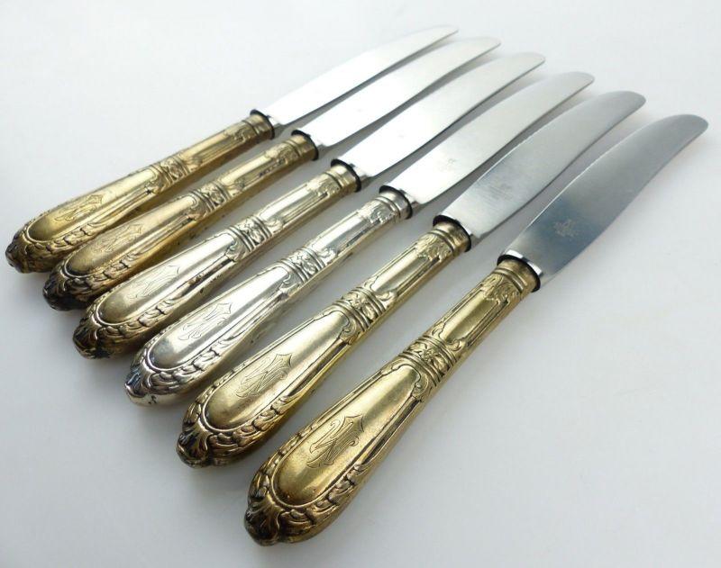 E10285 6 wunderschöne Gründerzeit Dessertmesser mit Griffen aus 800er Silber 5