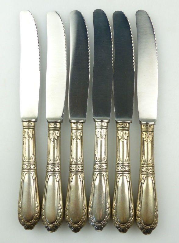 E10285 6 wunderschöne Gründerzeit Dessertmesser mit Griffen aus 800er Silber 6