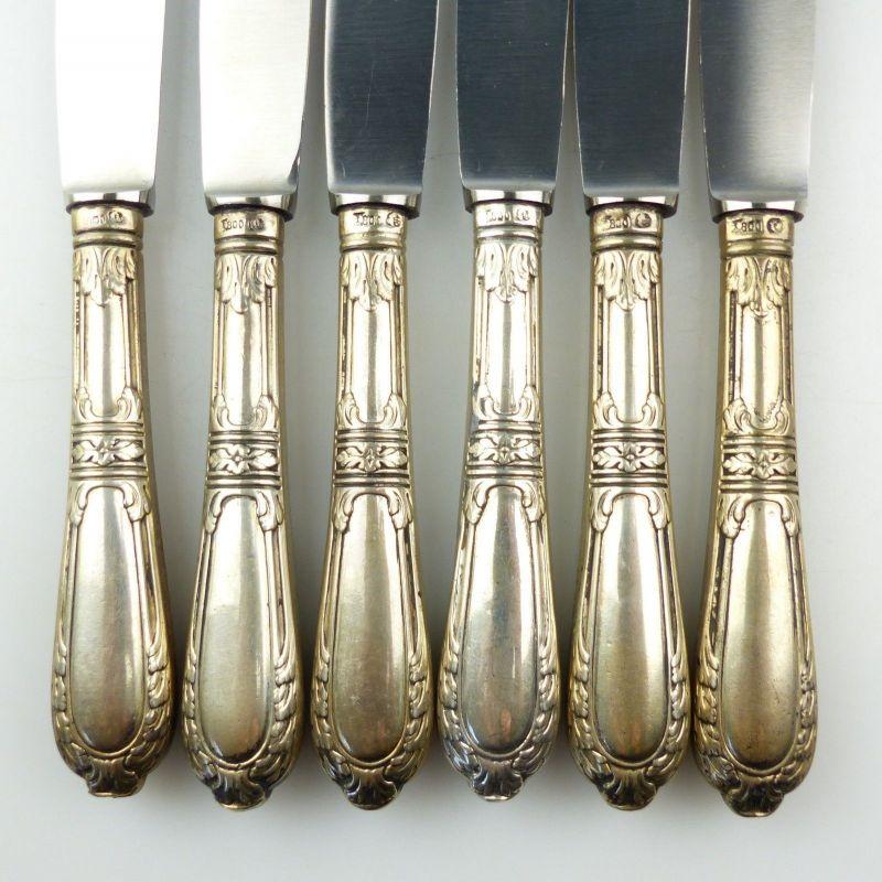 E10285 6 wunderschöne Gründerzeit Dessertmesser mit Griffen aus 800er Silber 7