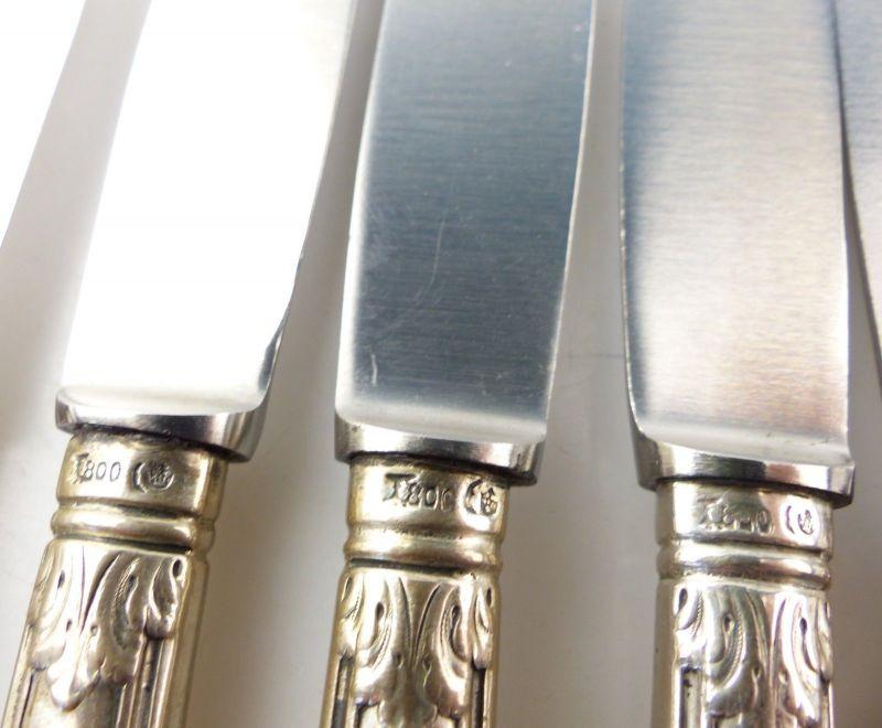 E10285 6 wunderschöne Gründerzeit Dessertmesser mit Griffen aus 800er Silber 8