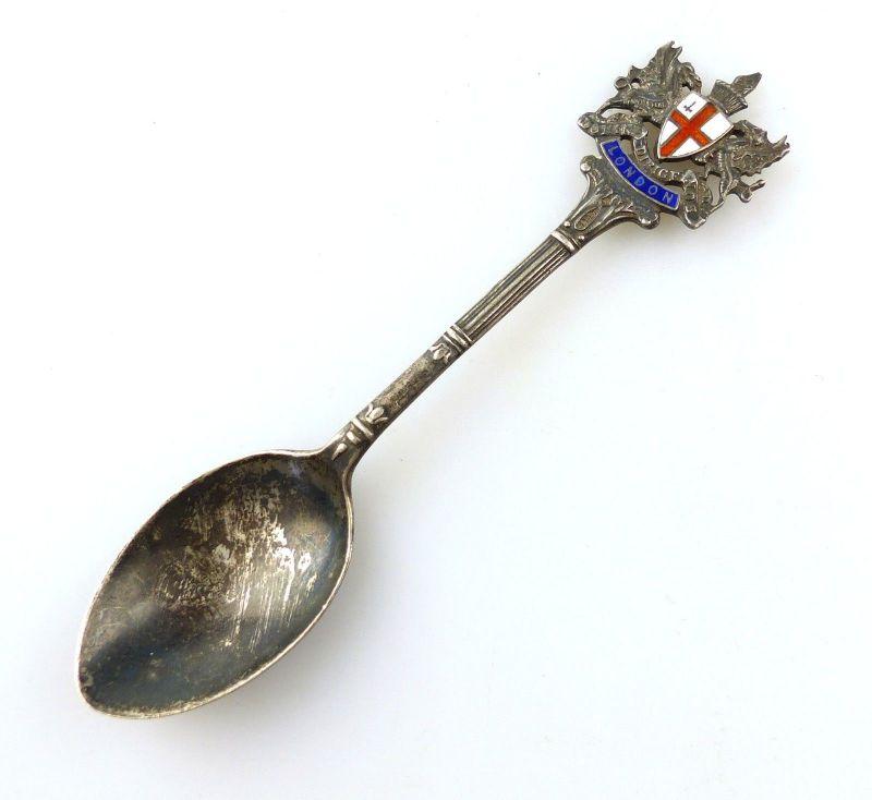 E10366 Sammlerlöffel Zierlöffel Löffel aus Silber London emailliert