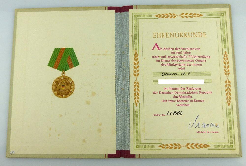 Urkunde: Medaille Treue Dienste in den bewaffneten Organen MdI 1962, Orden2794