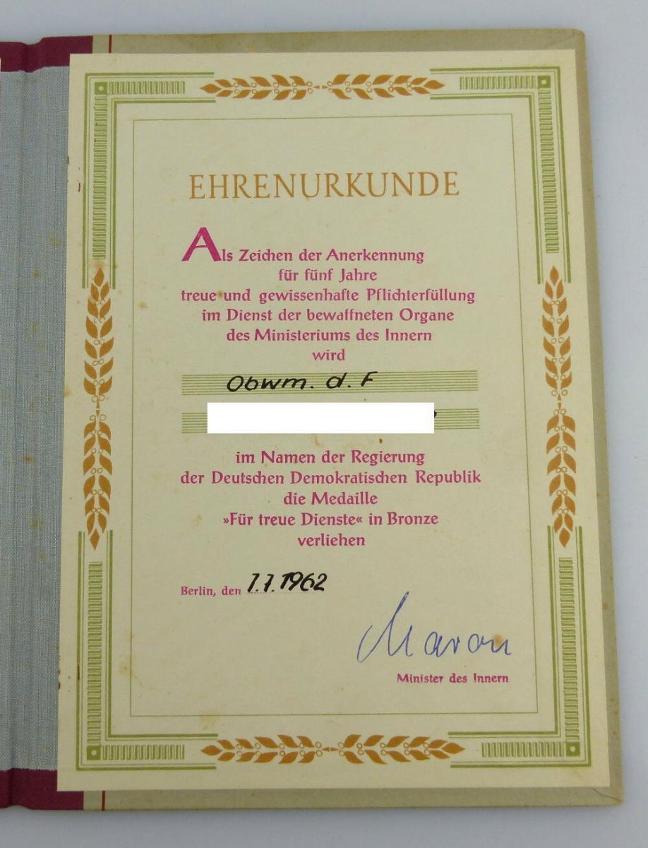 Urkunde: Medaille Treue Dienste in den bewaffneten Organen MdI 1962, Orden2794 1